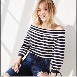 J. Crew off the shoulder striped shirt